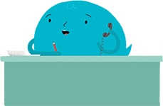 Blue bubble character sitting at his desk and answering the phone